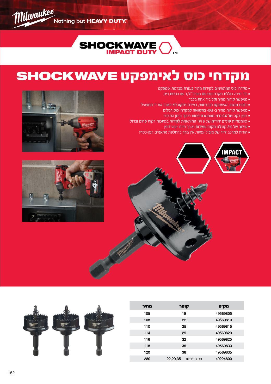 מקדח כוס לאימפקט shockwave