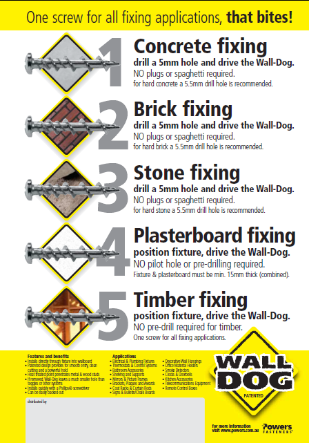 בורג קודח אוניברסלי Walldog, הפתרון היעיל ביותר לחיבורים על כל סוגי קירות בבית או בעבודה.