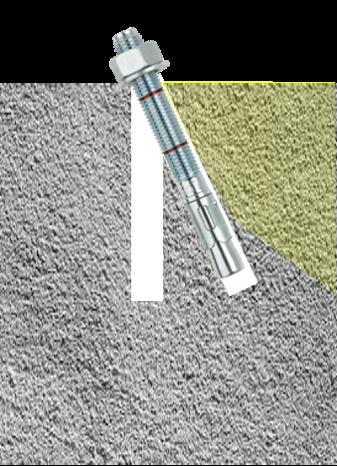 עוגן עקום השפעה קצה בטון